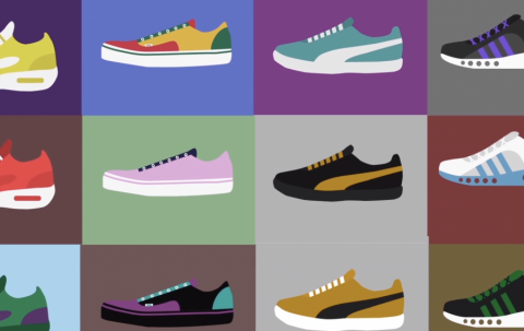 graphic image of different colored shoes in squares that are also different colors