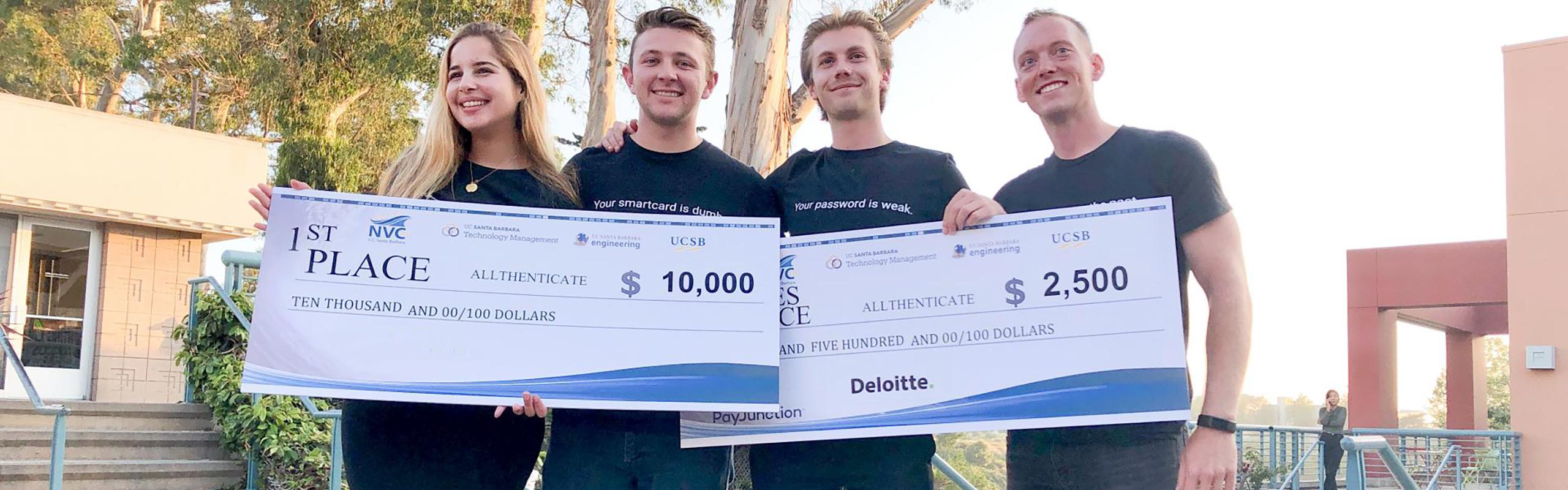 Team Allthenticate holding award checks at the 2019 New Venture Competition at UCSB